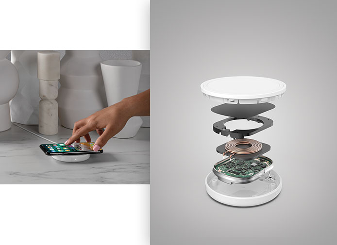 Two views of a Belkin Wireless charging pad